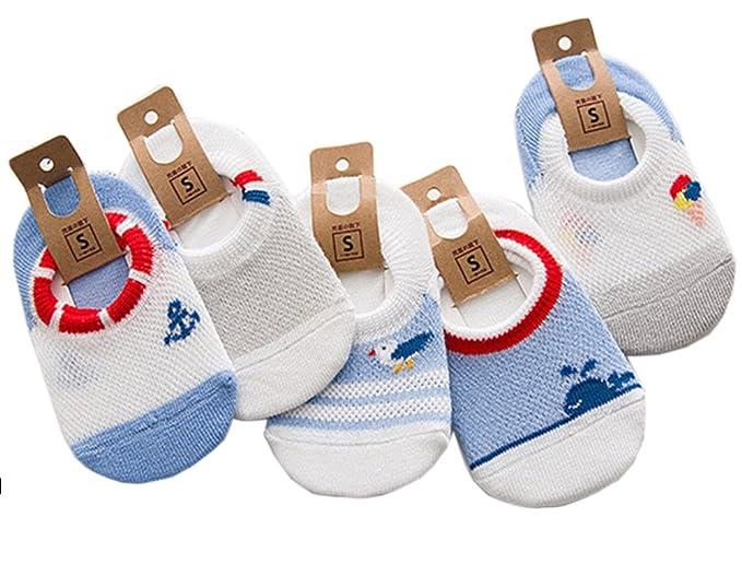 IKRR 5 piezas Babys Socks Calcetines para Bebes Niños Niñas Algodón Malla Verano (S/