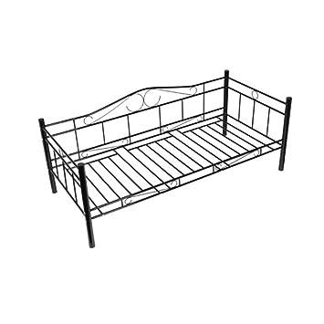 Metallbett schwarz  vidaXL Tagesbett Einzelbett 90x200 Metallbett Metall Bett ...