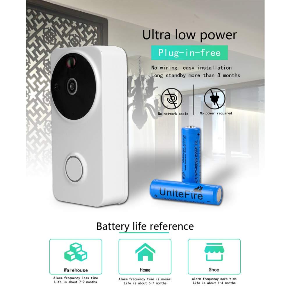 KAIDILA Drahtlose Video Türklingel Smart Wi-Fi Türklingel Ultra Niedrig Power Verbrauch 1280 p Hd Kamera in Echtzeit Zwei-Wege-Audio-Nig HT-Vision-Bewegungserkennung Einbrecher Erinnerungs