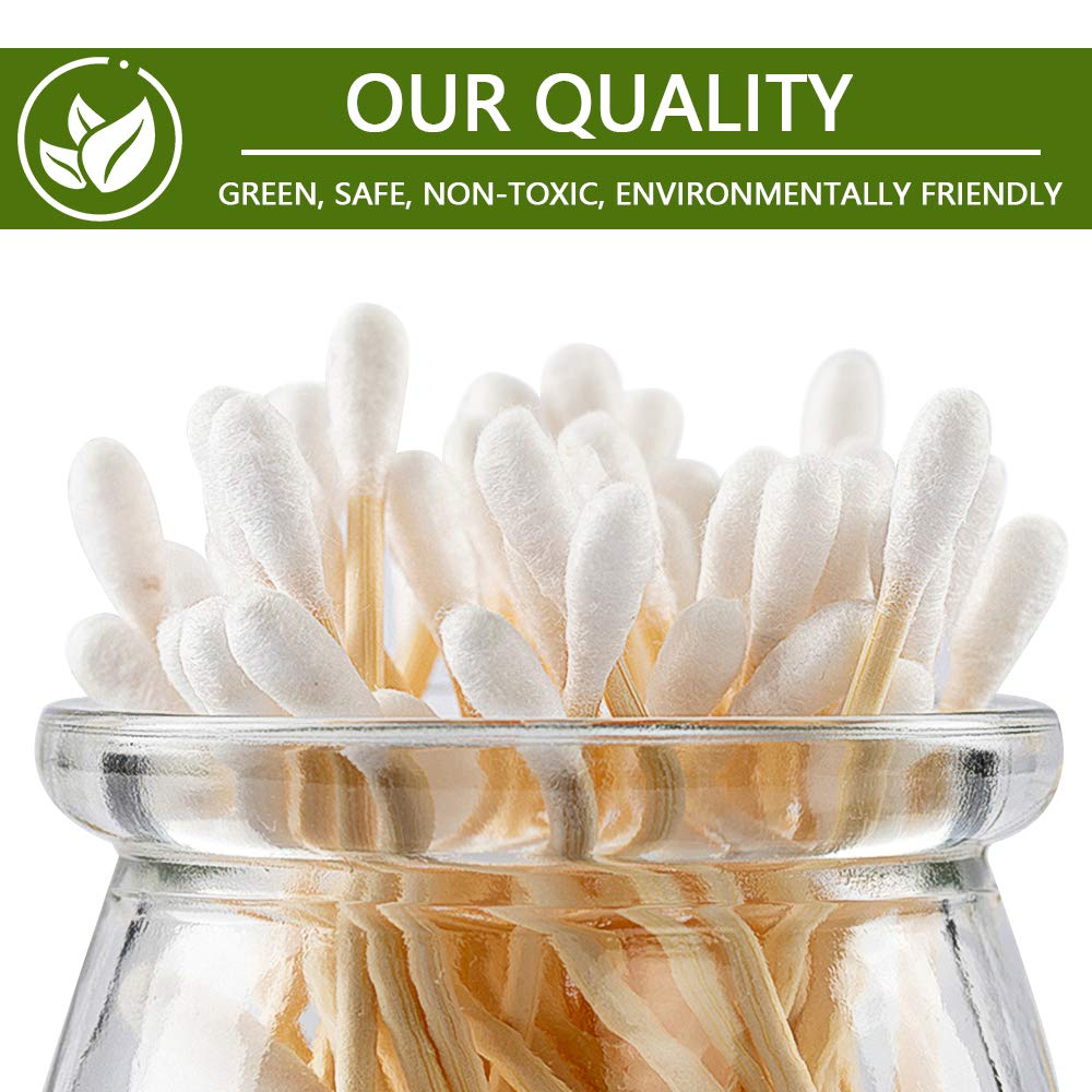 1000 Pieces 100/% Biodegradable Bamboo Cotton Buds,Pack of 10 Organic Bamboo Ear Buds Makeup Cotton Swabs Made from Organic Bamboo Wooden Ear Swabs Sustainable /& Eco friendly