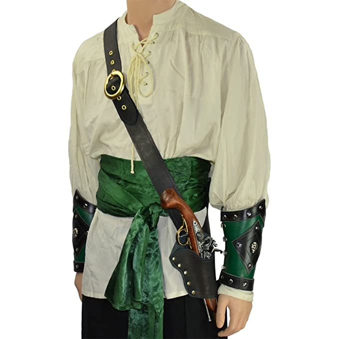 Deluxe Adult Costumes - Pirate's single pistol holster black leather baldric belt