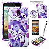 ZTE Prestige Case, Phonelicious® ZTE Prestige N9132 Heavy Duty Hybrid Armor Dual Layer Impact Dynamic Rugged Tuff Cover + LCD Protector & Stylus (HIBISCUS)
