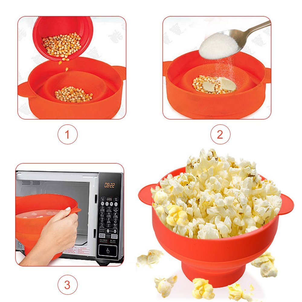 Microondas Popcorn Popper / Cuenco plegable de silicona / Silicona Popcorn Maker con tapa: Amazon.es: Hogar