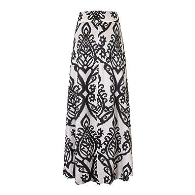 e9681dfdaeb MERICAL Skirts Womens Ladies Vintage Coral Print High Waist Skater Skirt  Long Maxi Skirt: Amazon.co.uk: Clothing