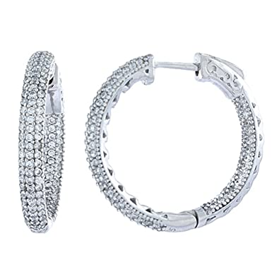844861fa31af1 Sterling Silver Micro Pave CZ Inside-Out Hoop Earrings Round in Rhodium,  Yellow & Rose Gold Finishes, 1 inch wide