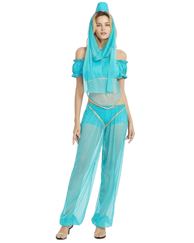 Quesera Women's Princess Jasmine Costume Set Aladdin Arabian Harem Pants Outfit