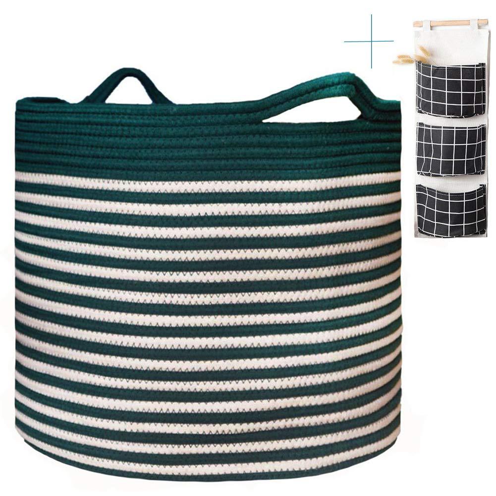 "Cotton Rope Basket, Wicker Laundry Basket, Senpulism Blanket Basket Living Room, Extra Large Round Woven Storage Basket for Blanket Baby Nursery Kids Toys 17""x13"" (Green)"