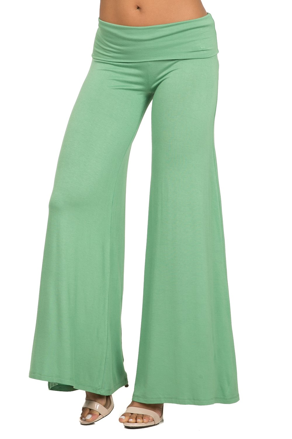 coul J WP502 Women's Comfy Chic Fold Over Waist Flare Wide Leg Palazzo Lounge Pants - Sage/Size: Large