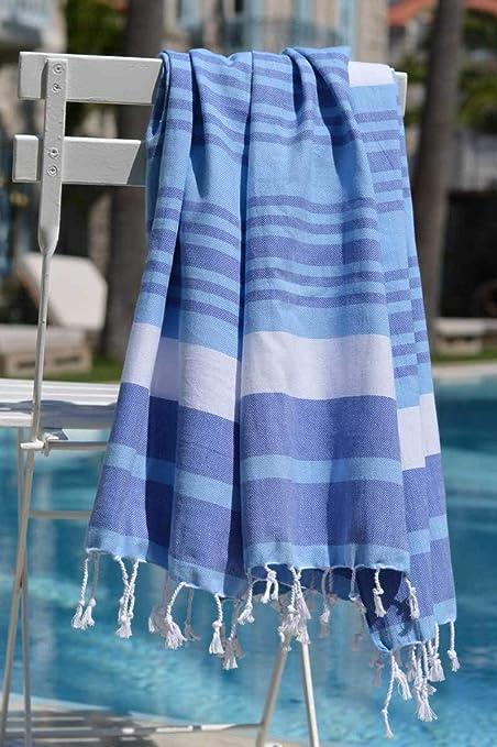 Amazon.com: ZusenZomer Fouta Hammam Towel XL & XXL Melodi | Turkish Beach Towel with Beautiful Stripes | Blue and Green | 100% Cotton (Blue, ...
