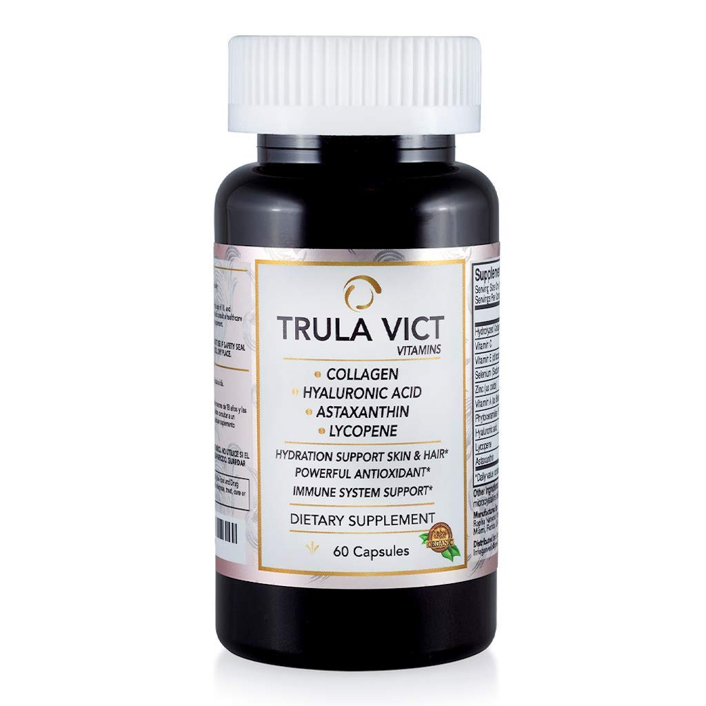 TRULA VICT CAPSULE| Hyaluronic Acid, Lycopene, Astaxanthin & Collagen| Powerful Anti-Aging & Antioxidant| Supports the Immune System, Prostate Health & Brain - Nervous System| 100% Organic ingredients
