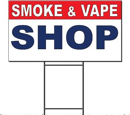 Smoke Shop Black Red Corrugated Plastic Yard Sign //Free Stakes
