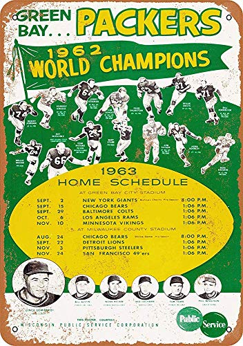 FDerks Green Bay Packers Schedule Retro Vintage Custom Metal Tin Sign Home House Coffee Beer Drink Bar 8 x 12 Inches