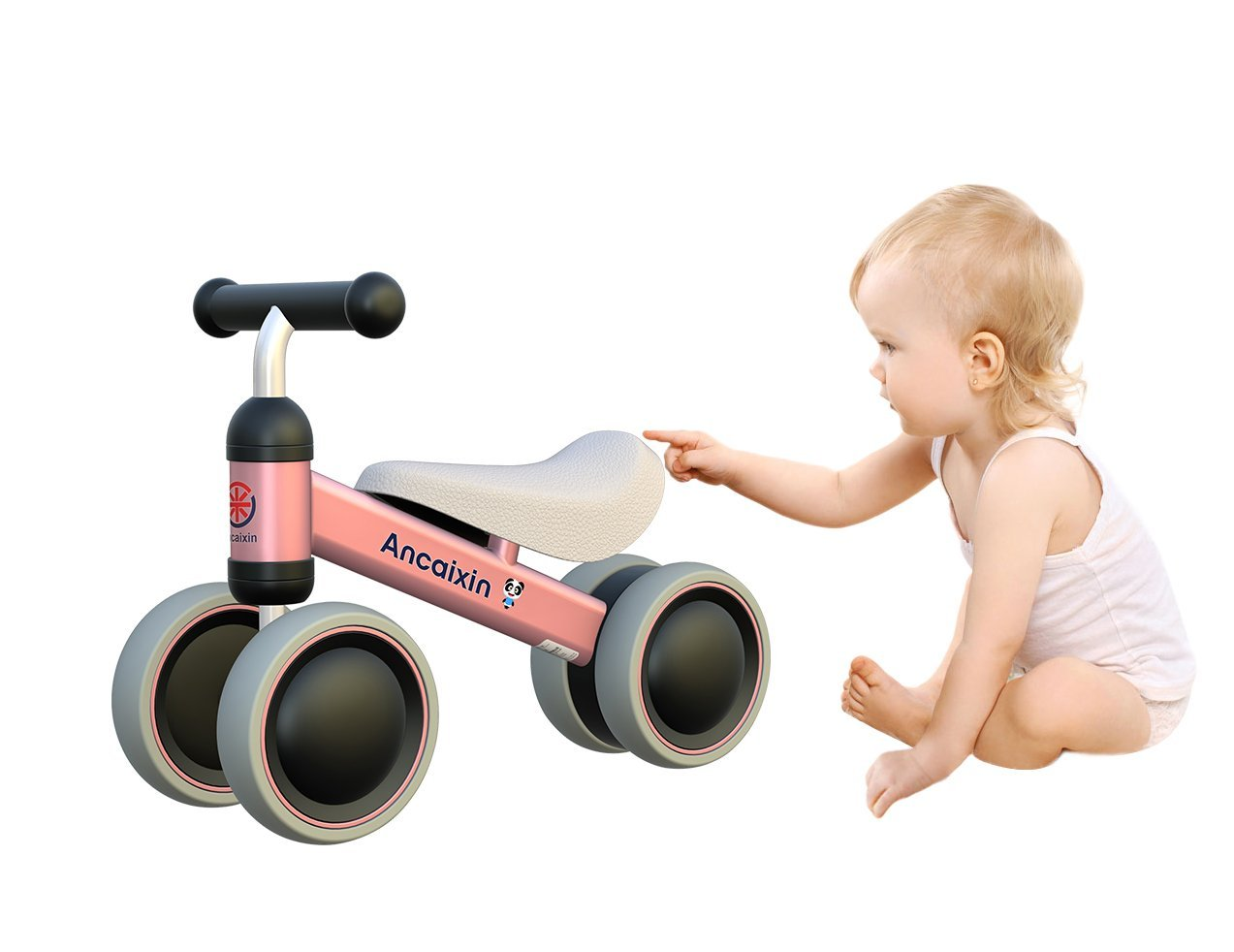 Ancaixin Pink Baby Balance Bikes Bicycle Children Walker 10-24 Months No Foot Pedal Infant Four Wheels First Bike by Ancaixin