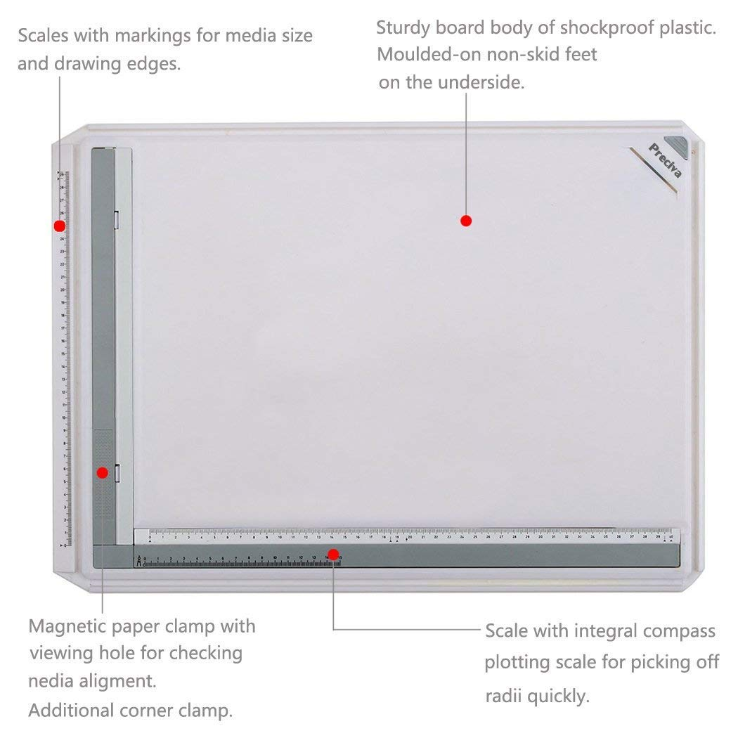 Preciva A3 Drawing Board 50.5 x 37cm Metric System, Drafting Board with Parallel Motion Accessories for Art and Design - White by Preciva (Image #2)