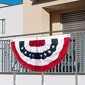 SDKBVOC USA Fan Flag, 2x4 Feet Patriotic Bunting Pleated Flag, United States Stars and Stripes Banner, 4th of July Memorial Day Veterans Day Porch Garden Decorations