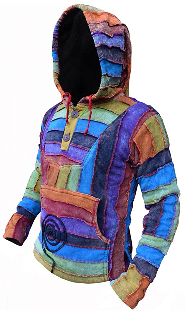 Little Kathmandu Mens Rainbow Cotton Stripy Pixie Long Hood Pullover at Amazon Mens Clothing store: