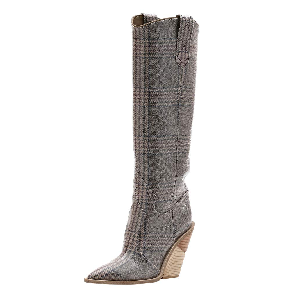 - Themost Over The Knee High Boot Womens Cowboy Western Thigh High Boots Wedge Heel shoes Mid Calf Combat Booties (14, Dark Stripe)