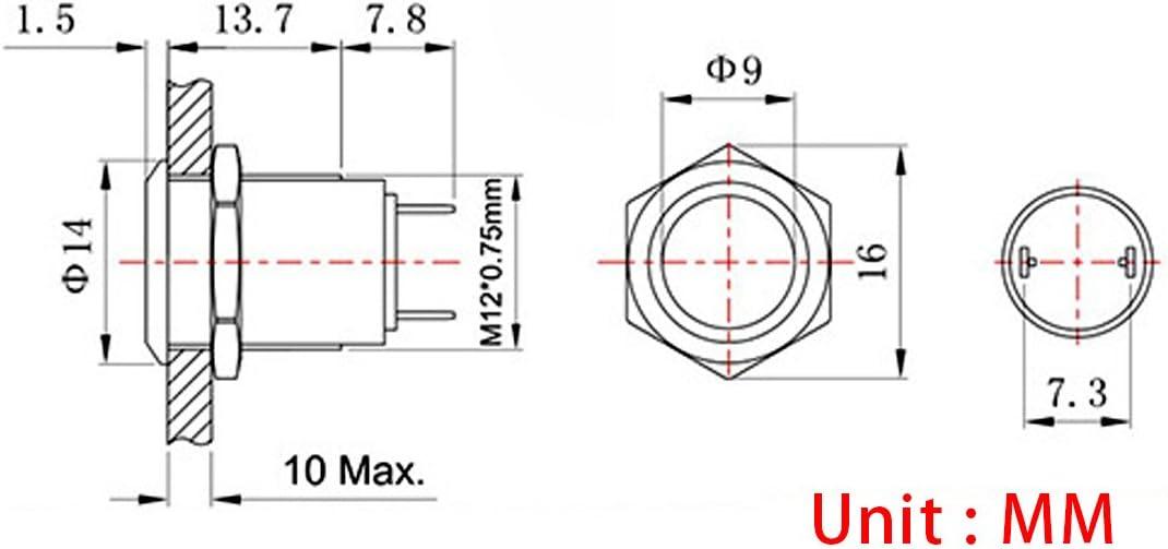 Impermeable Pestillo Push Button Larcele 16mm Mini Interruptores de Bot/ón Metal 5 Unidades JSANKG-01