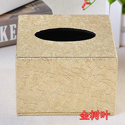 - T-ZJHC Creative Napkin Tray Hotel European Small Napkin Tray Square Tray Paper Towel Box, Gold Leaves, 12 * 12 * 8.5