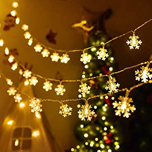 AILIKIWE Snowflake String Lights, 3m/10ft LED Fairy Snow Lights with 30 Snowflake, Battery Powered Indoor & Outdoor Christmas Decorations for New Year, Home, Party Patio Lawn (Warm White)