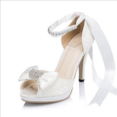 Kevin Fashion , Damen Modische Hochzeitsschuhe , Beige - Elfenbein - Größe: 39 1/3