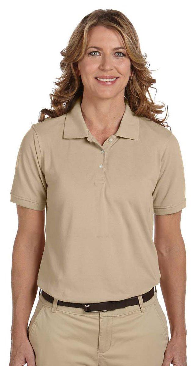 Harriton Women's Easy Blend Sideseamed Pique Polo Shirt, Stone, XXX-Large by Harriton