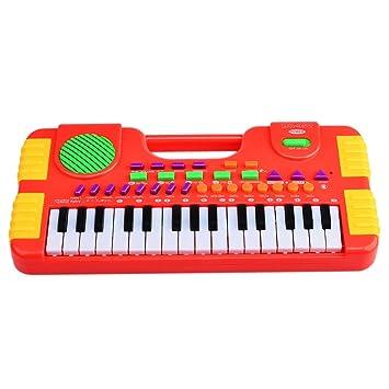 Piano para Niños, Foxom 31 Teclas Electrónico Teclados Piano Juguete Musical Regalo Para Niños Bebés Principiantes, Rojo: Amazon.es: Juguetes y juegos