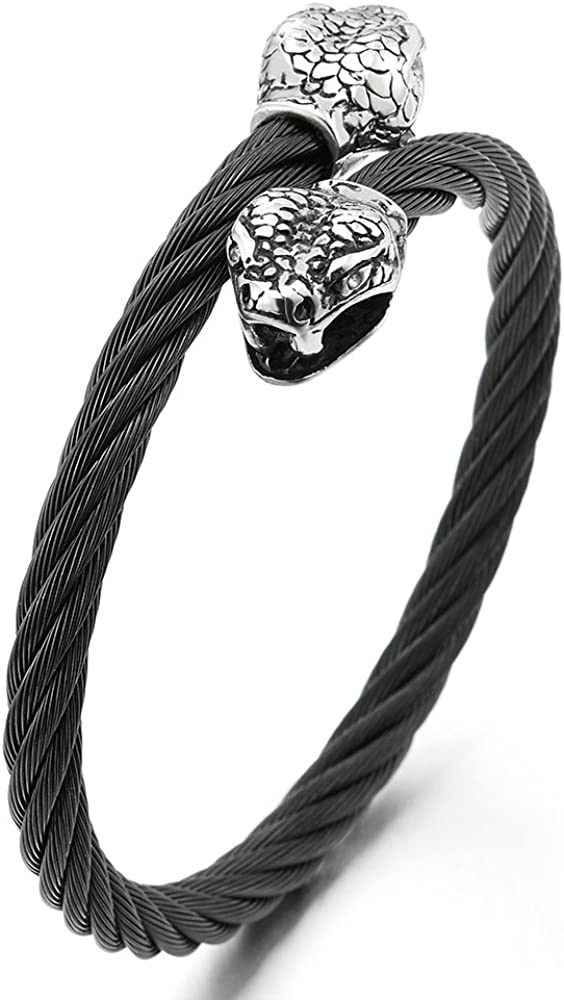 COOLSTEELANDBEYOND Mens Stainless Steel Skull Twisted Cable Cuff Bangle Bracelet with Red Cubic Zirconia