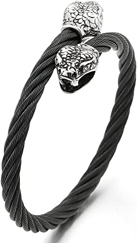 Rope Male Fashion Silver For Men Jewelry Wolf Head Black Leather Cuff Bracelet