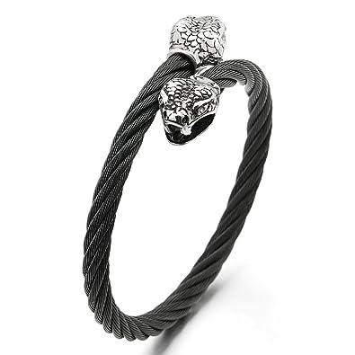 nouveaux styles 199d2 093d4 COOLSTEELANDBEYOND Homme Serpent Tête Bracelet - Acier ...