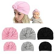 DANMY Baby Girl Hat Rabbit Ears Toddlers Soft Turban Knot Bow Cap (Parent-Child Cap(6pcs))