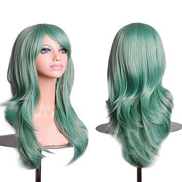 Amazon Com 28 Inch Green Cosplay Wigs Long Curly Big Wavy Hair