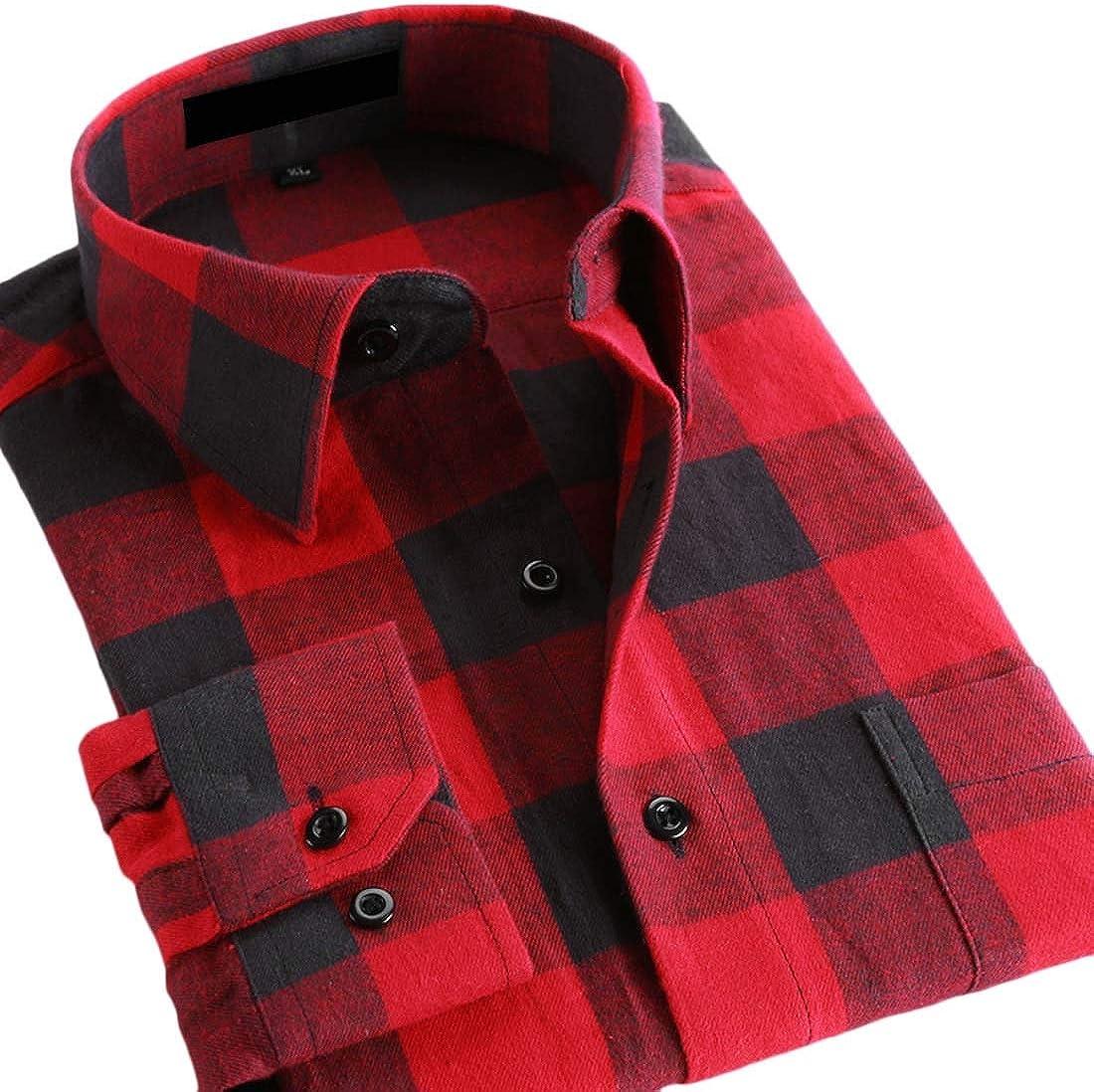 YYG Men Casual Long Sleeve Plaid Print Cotton Dress Flannel Checkered Shirt