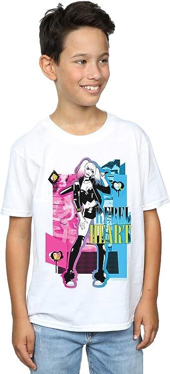 DC Comics Niños Harley Quinn Rebel Heart Camiseta: Amazon.es ...