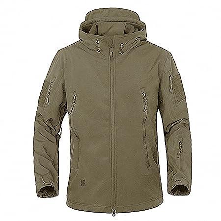 GooDoi Chaquetas Softshell para Exteriores para Hombres Chaquetas Impermeables Militares Chaquetas con Forro Polar Forro Exterior