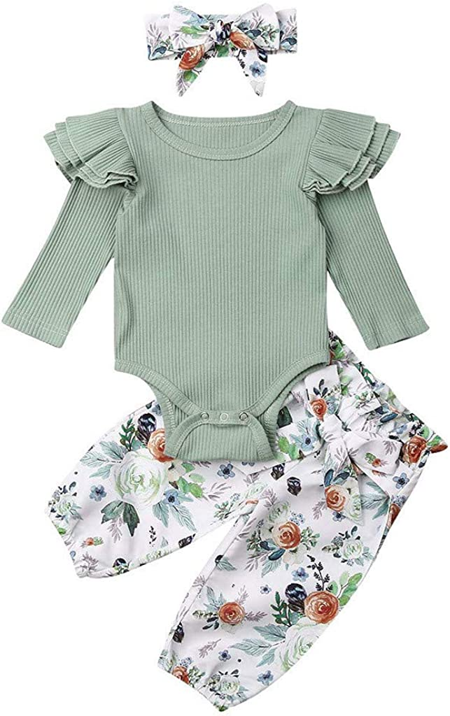 Sisifa 0-24 Months Infant Baby Outfit Set 3Pcs Girls Bodysuit Tops Pants Hairband Clothing Infant Newborn Baby Girls Solid Ruched Romper Floral Pants Casual Clothes Set