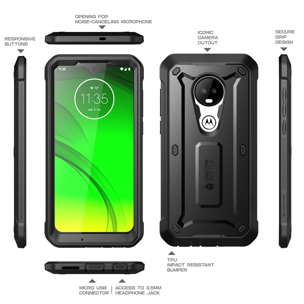 SupCase Unicorn Beetle Pro Series Designed for Motorola Moto G7 / Moto G7 Plus (2019 Release) Full-Body Rugged Holster Protective Case with Built-in ...