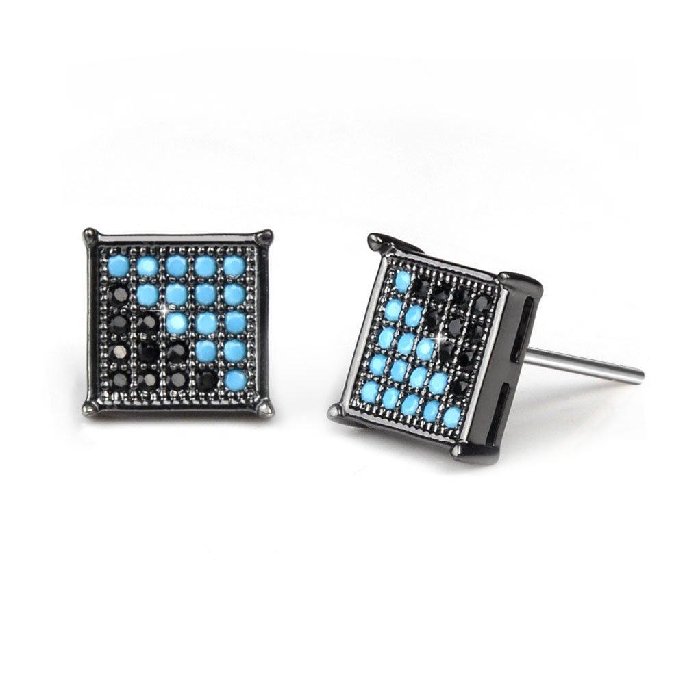 Half Black Half Turquoise,Bala Stud Earring for Men Square Sensitive Ears Diamond,8MM