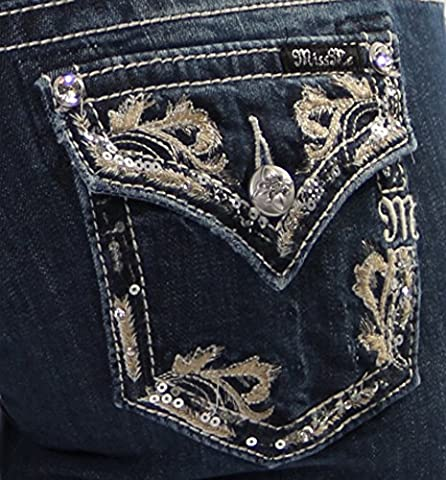 Miss Me Juniors' Fancy Embroidered Rhinestone Pocket Jeans Extended Sizes Denim 27 - Sequin Pocket Jean
