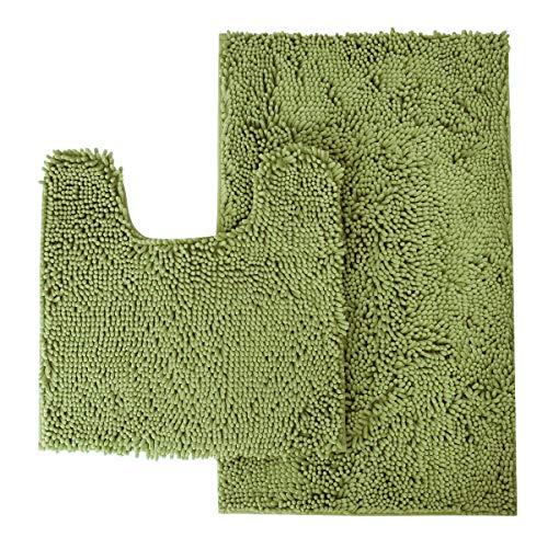 MAYSHINE Bathroom Rug Toilet Sets and Shaggy Non Slip Machine Washable Soft Microfiber Bath Contour mat (Sage Green,32