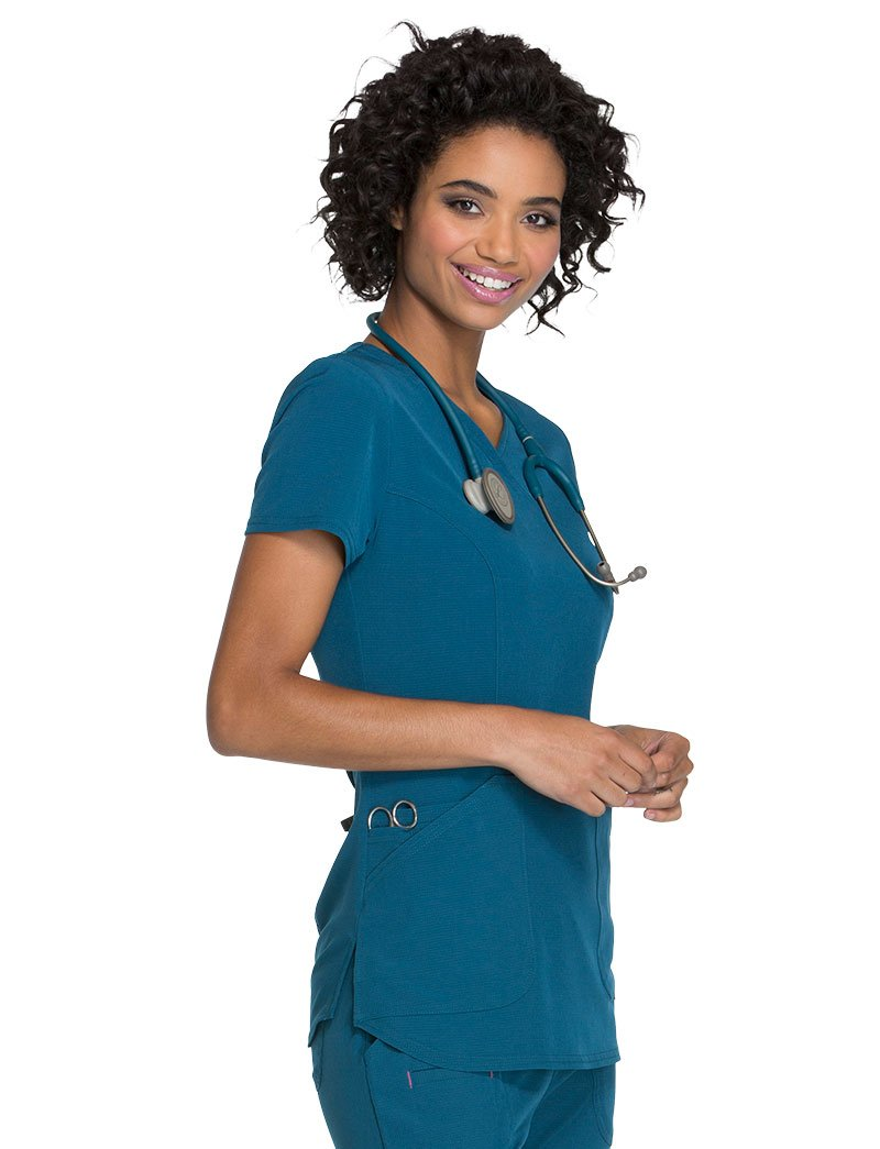 HeartSoul Break On Through by Women's Mock Wrap Solid Scrub Top Medium Caribbean Blue
