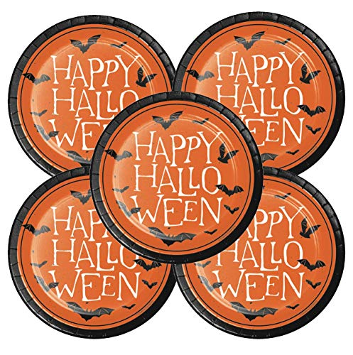 Halloween Paper Plates Dessert Appetizer Cocktail Party Supplies 24 Count features HAPPY HALLOWEEN