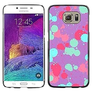 rígido protector delgado Shell Prima Delgada Casa Carcasa Funda Case Bandera Cover Armor para Samsung Galaxy S6 SM-G920 /Teal Pink Purple Paint Pattern/ STRONG