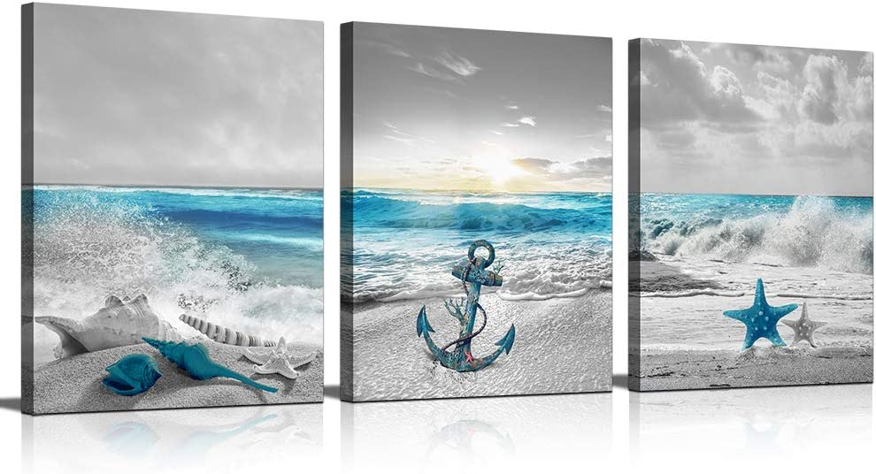 KuyiArt Seascape Canvas Prints Wall Art Painting Anchor Starfish Shell on Seaside Artwork Pictures for Living Room Bedroom 3 Panels Home Wall Decor Poster