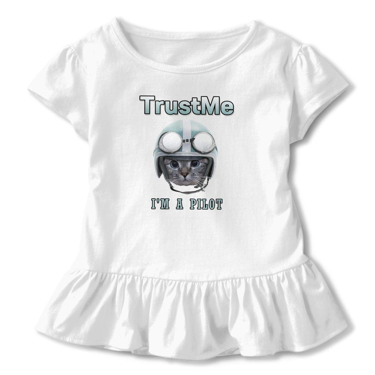 Trust Me Im A Pilot Toddler Baby Girls Cotton Ruffle Short Sleeve Top Comfortable T-Shirt 2-6T