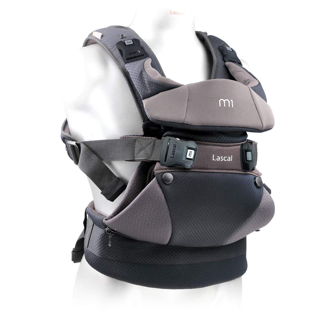 Lascal m1 Carrier, 8-33 lbs, Gray, Superior Hip-Healthy M-Position Seat for Infants, Patented Hip-Zip Support for Toddlers, Multi-Position Ultra Comfortable Carrier for Parents, Babies Toddlers