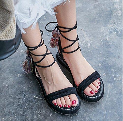 belle da Scarpe infradito donna cinturino fondo a donna Sandali impermeabile ragazze incrociato Donna spesso scarpe dolci sandali con Huaishu sandali nappa Nero da Moda freddi HgaEqwwF