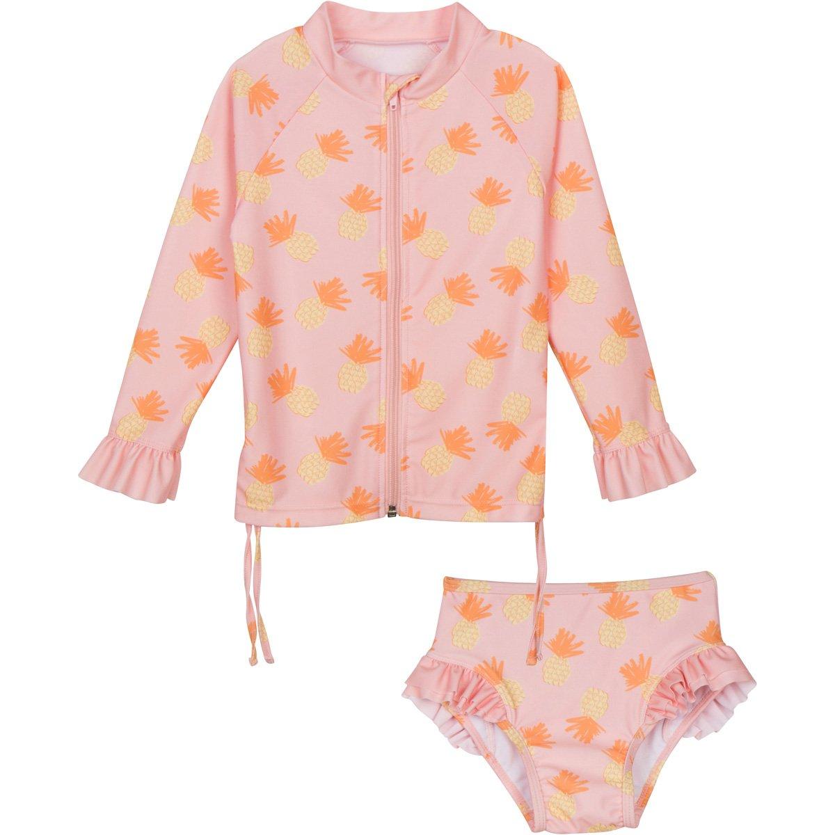SwimZip Little Girl Zipper Long Sleeve Orange Rash Guard 2 Piece Swimsuit Set Sweet Pineapple SWEETPINEAPPLE2PCLS01