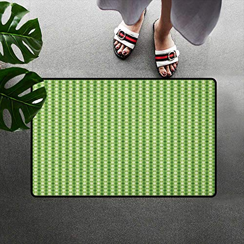 (alilihome Floor Mat Rug Indoor Decorative Floor Mat W47 x L59 INCH Abstract,Retro Style Little Circles with Stripes on Dotted Background, Lime Green Fern Green Cream)