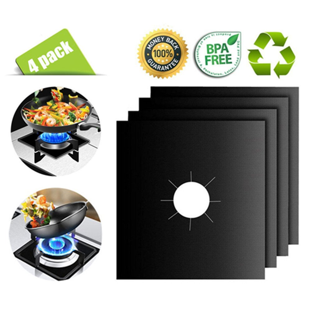 4 Pack Reusable Gas Range Protectors - Thick, Heat Resistant Fiberglass Mat with Adjustable Size - Safest On The Market | Non-Stick & Easy to Clean - Kitchen Friendly Cooking Accessory R5 by MAZU (Image #8)